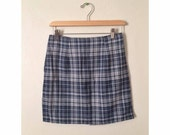 Blue and White Plaid Mini Skirt