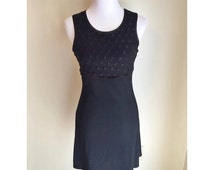 90s Black Stretch Textured Dress