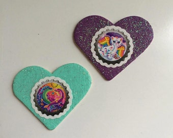 Lisa Frank Inspired Glitter Heart Buttons