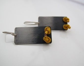 Silver dangle earrings,  oxidized, minimalistic, modern, sterling, elegant