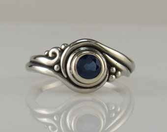 14kw gold Blue Sapphire Ring- One of a kind