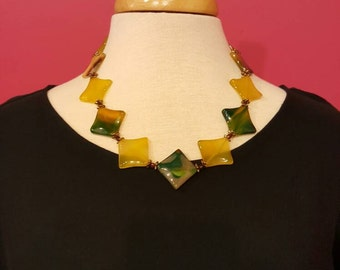 Bold Yellow and Green Beaded Statement Necklace, Fall Jewelry, Autumn