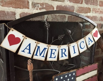 4th of July Decoration, AMERICA, Patriotic banner, Americana