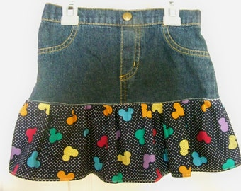 Upcycled Jean Disney Skirt  size 5-6