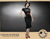 Sailor pencil skirt SUZIE Q black Vecona Vintage swing navy black brass buttons red bow pin up