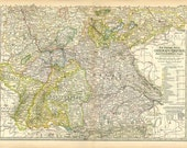 GERMAN EMPIRE Southwestern part MAP 1897 - Century Atlas  page