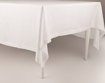 White linen tablecloth, White tablecloth, Natural tablecloth, Custom linen tablecloth, Square or rectangle tablecloths by Lovely Home Idea