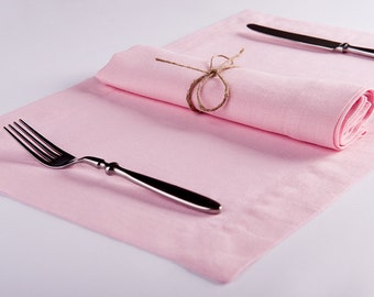 Pale pink linen six table napkins or place mats