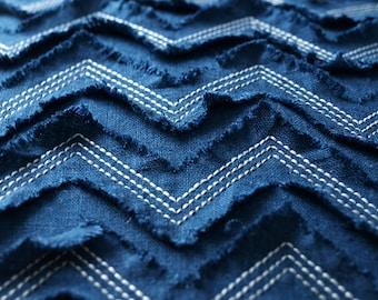 Embroidered pillow cover Textured linen pillows Indigo custom cushion cover