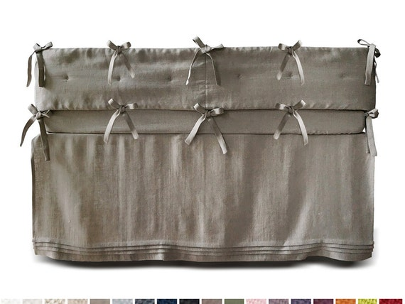 Crib bedding set, linen crib bumper, linen crib skirt with pleats Custom color linen baby bedding, linen cot bumper, cot sheets, cot skirt