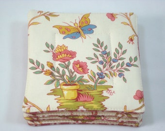 French Country Fabric Coasters Set of 4 Pierre Deux Chambellay Fabric Pastoral French Coasters Beverage Coasters