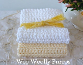 Yellow & White Crochet Cotton Cloths - Handmade by WeeWoollyBurros