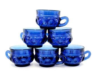 Vintage Cobalt Blue 'King's Crown' Punch Cups, Set of 6 (E6090)