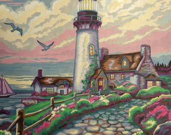 Lighthouse Paint By Number -  Sailboat Seaside Painting - Coastal Painting - Vintage  No.103 cs
