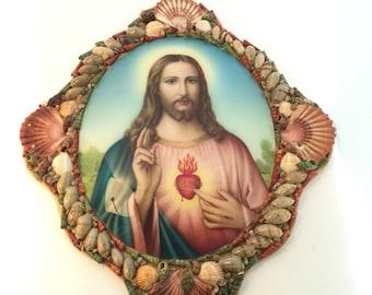 Sacred Heart  Jesus Picture . Shell Frame. Religious Art. Catholic Art.