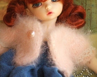 Ooak YoSD Fairyland LittleFee BJD Doll Pale Peach French Angora Rabbit Hair Yarn Cardigan Sweater Vintage Tatted Lace Pink Pearl Button