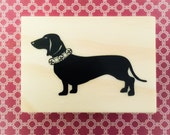 Weiner Dog Rubber Stamp NEW Dachshund with bell pet collar Doxie Wood Mounted Craft Party Invitations Cards Scrapbooking Crafts Christmas