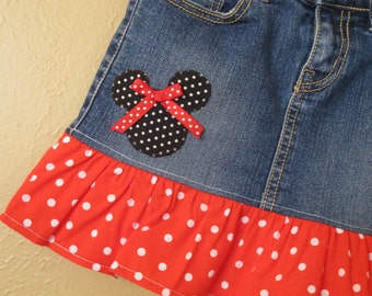 Minnie Mouse skirt -girls size -8 only -  upcycled  -refab - Disney Vacation- Ready to Ship