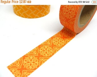 Light and Dark Orange Henna Design Washi Tape 15mm x 10m Shipping End of July 2016