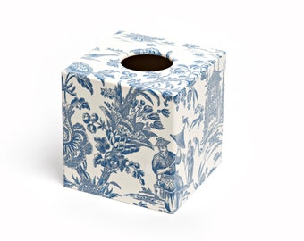 Oriental Blue Tissue Box Cover  wooden decoupaged made by hand