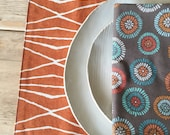 Cloth Placemats - Rust Long Lines Design  - Set of 4