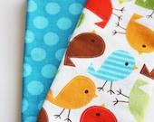 Kids Napkins - Birds - Set of 2 Kid's Size Reversible Napkins