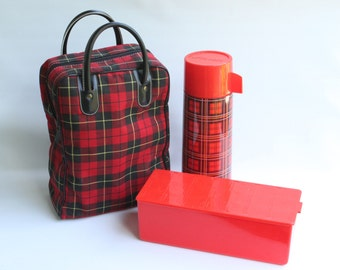 Vintage Red Plaid Picnic Bag Travel Set With Thermos