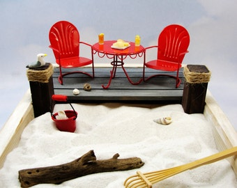 miniature zen beach garden kit, 2 miniature metal shell back chairs with table, deck, food, beverages