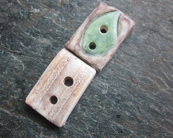 2 Small Woodland Brown Ceramic Buttons