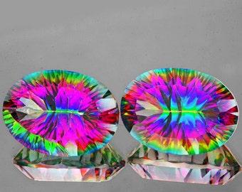 Matched Pair Oval Concave Facet Cut Mystic Purple and Green Rainbow Quartz 16 x 12 MM , 16.03 Carats