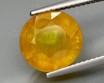 Large Opaline Honey Yellow Sapphire Faceted Oval, 11 x 10 MM, 6.50 Carat, Looks Like Yellow Opal