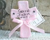 Cross Baptism Favor / Christening Personalized Salt Dough Ornament / White, Pink or Baby Blue