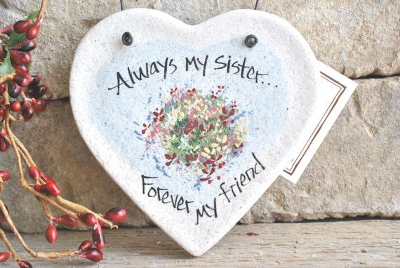 Sister Heart Salt Dough Ornament  / Mother's Day / Birthday / Bridesmaid / Christmas