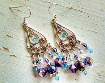 Silver chandelier earrings, Gypsy hippie long Silver teardrop chandelier earrings with purple and blue crystal and pearl