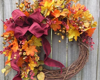 Fall Wreath, Burgundy Fall Wreath, Fall Door Wreath, Fall Berry and Leaves Wreath, Fall Color Decor, Autumn Wedding Decoration, Thanksgiving
