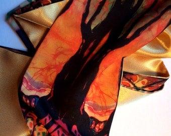 Lothlorien - Medium size Silky Faille scarf  -   women's fashion  -  from original batik -