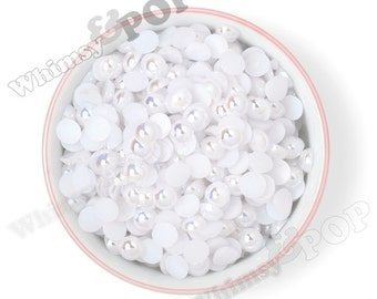 100 - 10mm White AB Pearl Flatback Resin Decoden Cabochons, Half Pearl Cabochons, Flatback Pearls, Flat Back Pearls 10MM (R3-136)