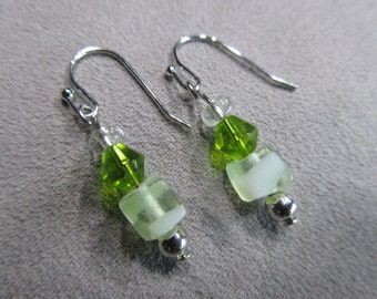 Lime and Mint Green Beaded Earrings