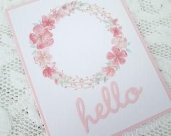 Greeting Card Set, Hello Card Set, Set of 4 Cards, Pink Floral Wreath Card Set, Blank Greeting Card Set