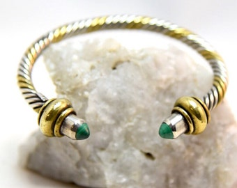 Vintage Chunky Cable Sterling Silver & Gold Twisted Cuff Bangle Bezel Set with Malachite Gemstone Ends