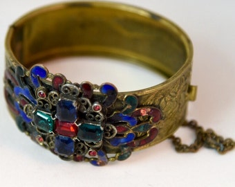 Art Deco Czech Glass & Cloisonné Enamel Etched Brass Hinged Clamper Bangle Bracelet c.1920