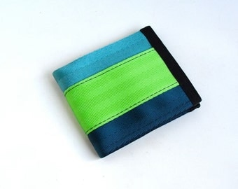 Men's Vegan Wallet - Aqua, Lime, and Dark Blue Seatbelt Webbing - Velcro Wallet (SBW-V3)