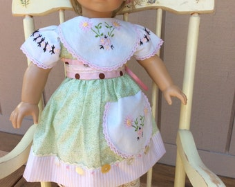 American Girl, Waldorf doll clothes, ARTSY, vintage linens, 2 pc