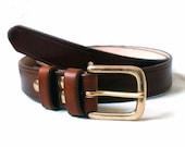 "Leather belt men, 1 1/4"" wide, full grain leather belt, solid brass buckle, 2 fixed leather loops"