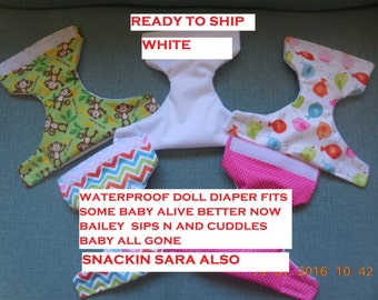 READY TO SHIP white #1 waterproof doll diaper  fits some baby alive fits snackin sara sips n cuddles baby all gone better now Bailey
