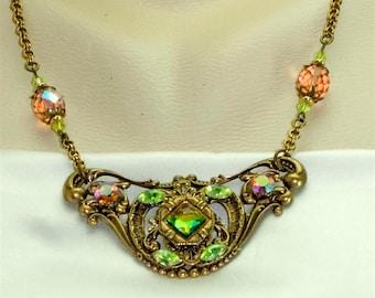 Vintage Glamour Art Deco Green/Peach/Rainbow Rhinestone Statement Necklace