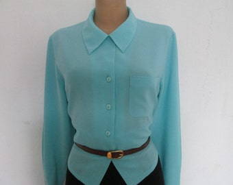 Blue Blouse / Blouse Vintage / Buttoned Blouse / Womens Blouse / Size EUR 44/ UK16