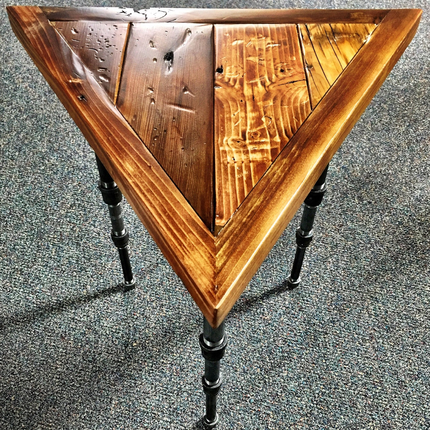 Triangular Industrial Steampunk End Table with Tapered Black