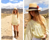 Vintage  1970s 70s Pale Yellow Paisleys Beachy Cover Up Hippie Embroidered Tunic Top India Boho Hippie Summer Festival