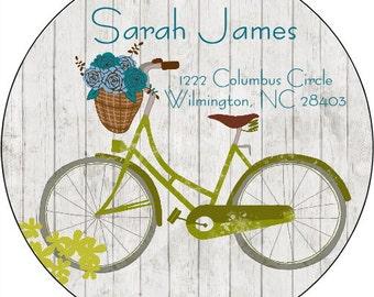 Bicycle BikeReturn Address Labels Return Stickers Personalized Return Address Round Address Labels Custom Address Labels Owl